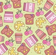 Cute Food Cartoon Pattern