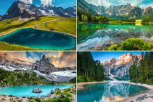 Collage Of Beautiful Mountain Lakes In Europe, Italy, Switzerland