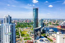 Panorama Of Yekaterinburg City Center. View From Above. Russia