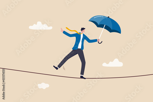Papel de parede Business or investment risk protection, challenge, danger and difficulty to overcome to success in work and career concept, confident brave businessman ropewalker equilibrium walk on high tight rope