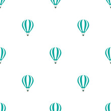 Blue Hot Air Baloons Line Silhouettes On White Background. Flat Cartoon Vector Ornament.