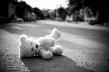 Black And White Of Alone Toy Teddy Bear Doll Sleep On Middle Of Road. Lonely, Sad, Broken Heart Or International Missing Children's Day Concept.