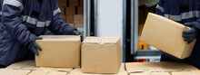 Picking Up Package Boxes In The Loading Area Of Cold Storage Warehouse Prepare To Transfer Storage In The Freezing Room, Warehouse Storage System Service In Logistics Business Concept In Banner Size