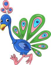 Illustration Of A Peacock Cartoon Bird