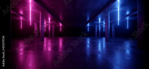 Fotografia Laser Neon Purple Blue Futuristic Retro Cyber Sci Fi Blade Runner Concrete Garag