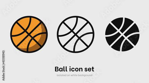 Canvas Basketball ball icon set