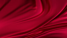 Smooth Elegant Abstract Red Silk Or Satin Luxury Cloth Texture Illustration Background. Luxurious Valentine's Day Background Design