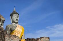 Ancient Buddha Image Under Morning Sun Light At Ayutthaya Province, Thailand, Public Domain