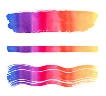 Colorful Gradient Watercolor Brush Stroke, Long Stripe, Wavy Smear Set. Striped Watercolour Brushstrokes. Artistic Text Backgrounds, Banners Collection, Hand Drawn Creative Graphic Design Elements.