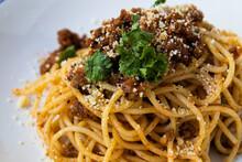 Home Made Italian  Spaghetti Bolognese On White Background