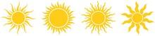 Sonne Oder Sonnenschein Symbol Kollektion Als Vektor Auf Einem Weißen Isolierten Hintergrund. Gewellte Gezackte Strahlen. Sägezahn Design.