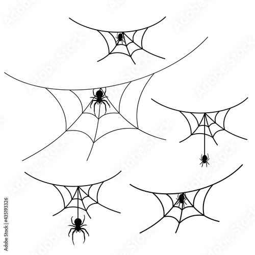 Fotografía Scary spider web set isolated white background