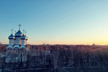 Spring Top View Of Vologda Landscape, Church And Cathedral, View In Russia Orthodoxy Architecture
