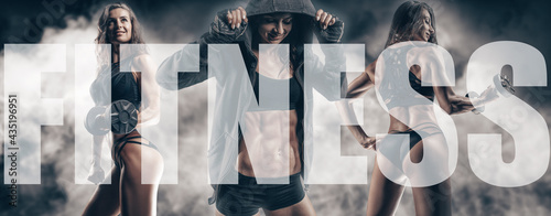 Fotografia The image of three sports sexy girls on a smoky background