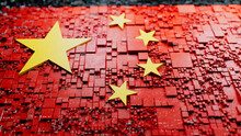 Chinese Colors Rendered As Futuristic 3D Blocks. China Network Concept. Tech Background.
