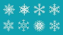 White Snowflake Set On Blue Background. Collection Of 8 Snowflakes. Cute Winter Scenery Graphic Element. Christmas And New Year Decoration. Frozen And Cold Symbol. Vector Illustration, Flat, Clip Art