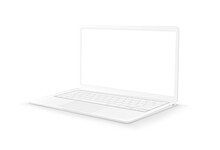 White Laptop With Blank Screen On White Background. 3d Style Vector Illustration