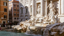The Famous Trevi Fountain In Rome With Graceful Sculptures