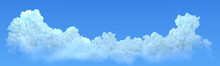 Panoramic Huge Blue Cumulus Isolated, Nature 3D Rendering