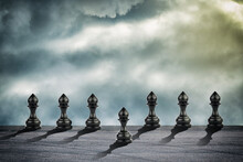 Pawn Is Ahead Of The Others. Cloudy Sky. Leadership Concept. Success. Abstraction. Business.