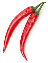 Two Chili Pepper Isolated On A White Background. Chili Hot Pepper Clipping Path