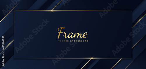 Slika na platnu Abstract template blue frame stripes golden lines diagonal overlap background