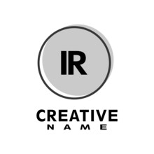 Letter IR Logo With Grey Circle, Letter Combination Logo Design With Ring, Circle Object For Creative Industry, Web, Business And Company.