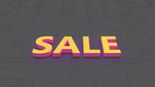 Colorful Golden Purple Sale Sign With Light Flash Isolated On Abstract Background. 3D Rendering.