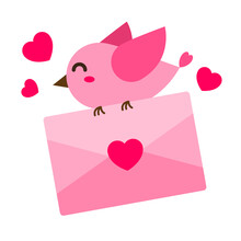 Happy Pink Bird Carry An Envelope With Heart. Creative Romance Concept Of Sending Love Letter. Simple Trendy Cute Vector Cartoon Illustration. Flat Style Graphic Design Element For Valentine's Day.