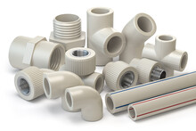 Set Of PVC Pipe Fittings Isolated On White.