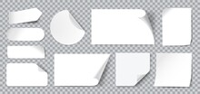 White Stickers. Blank Adhesive Sticker With Folded Or Curled Corners. Realistic Paper Sticky Notes In Various Shapes Vector Mockup As Circle, Rectangle, Square Clean Tags Or Badges