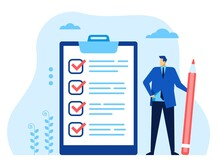Businessman Checklist. Office Worker With Pen Looking At Completed Checklist. Successful Business Task Planning, Goal Achievement Vector Concept. Employee Marking Or Ticking Done Tasks
