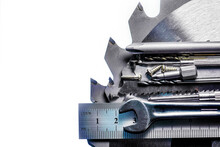Set Of Tools And Consumables On The Surface Of A Circular Saw.