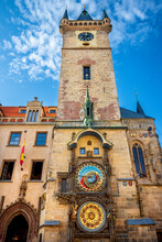 Prague Astronomical Clock, Medieval Astronomical Clock, On The Southern Wall Of Old Town City Hall In The Old Town Square, Prague, Czech Republic