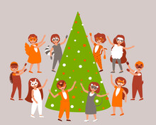 Children In Carnival Costumes And Masks Of Forest Animals Dance Around The Christmas Tree. Christmas Card With Cheerful Children. Matinee In The Garden Around The Spruce. Flat Vector Illustration.