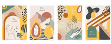 Collection Of Contemporary Background Set With Woman,shape,rainbow.Editable Vector Illustration For Website, Invitation,postcard And Poster