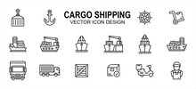 Cargo Shipping Delivery Expedition Related Vector Icon User Interface Graphic Design. Contains Such Icons As Ship, Vessel, Anchor, Ship Steering Wheel, Cargo Ship, Truck, Pallet Box, Harbor Loading