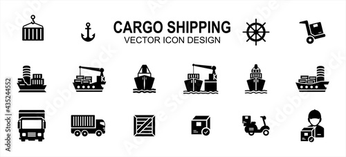 Fotografia, Obraz cargo shipping delivery expedition related vector icon user interface graphic design