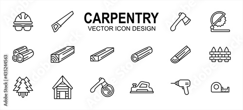 Foto Carpentry carpenter wood workshop related vector icon user interface graphic design