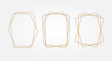 Gold Geometry. Frames For Text. Wedding Invitation. Square.
