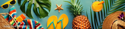Canvas Summer concept with pineapple and essentials of traveler, vocation background wi