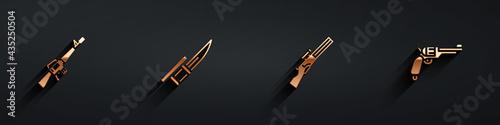 Set M16A1 rifle, Bayonet on, Hunting gun and Revolver icon with long shadow Fototapeta