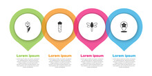 Set Flower Tulip, Carrot, Dragonfly And Location With Flower. Business Infographic Template. Vector