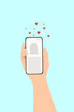 Hand Of Young Man With Smartphone Chatting With Lover