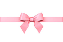 Sweet Pink Pastel Color Ribbon Bow Isolated On White Background Minimal Conceptual 3D Rendering