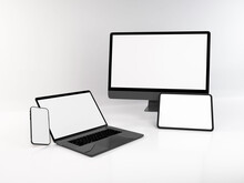 Realistic Mockup Of Multiple Responsive Devices 3D Illustration