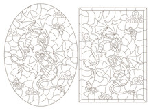 Set Of Contour Illustrations In The Style Of Stained Glass With Cartoon Cute Dragons, Dark Outlines On A White Background