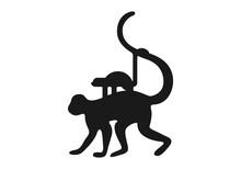 Monkey Family Silhouette Logo