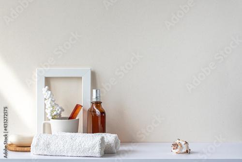 Fototapeta Bathroom interior in beige pastel tone