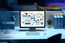SEO Flowchart On Desktop Screen On Workplace. Business Optimization Concept To Boost Sales. Graphic Data Charts And Project Performance On Pc Monitor In Office